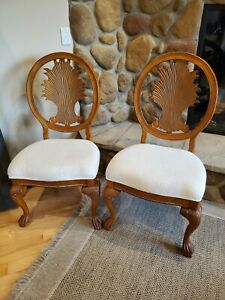 Custom Made Oval Back Wooden Accent Seating Chair (set of 2) white cushion seat