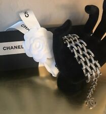 Chanel Silver Chain Link Bracelet with Dangling CC Charm Authentic New w/ Tag
