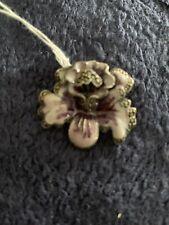 Sterling Silver Purple Flower Brooch Pin 925