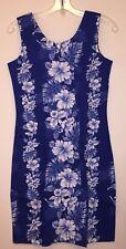 NWOT KY's Hawaiian Hibiscus Panel Flowers Short Cotton Tank Dress Blue Sz Small