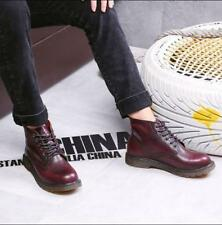 Vintage Mens Combat Ankle Boots Lace Up Low Heels Warm High Top Casual Shoes NEW