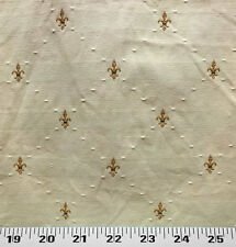 Drapery Upholstery Fabric Diamond Pattern w/ Embroidered Fleur De Lys - Natural
