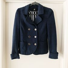 H&M Blue Double Breasted Coat Blazer Womens Size 8