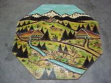 """Vintage pine wood carved panel of Alpine Black Forest  DEER on planks 32"""" by 32"""""""