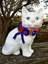 Vintage Gorgeous Blue Eyed White Persian Figurine Statue Flower Rose Bow 6/5��J8