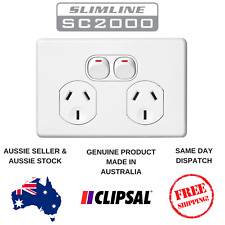 Clipsal Slimline Double Powerpoint Twin Switch Socket Outlet 10Amp  SC2025 White