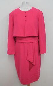 PAULE KA Ladies Hot Pink Tie Belt Dress And Jacket Matching Suit UK16 BNWT