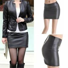 Women Sexy Skirt Black PU Leather Pencil Bodycon High Waist Mini Bust Skirt JA