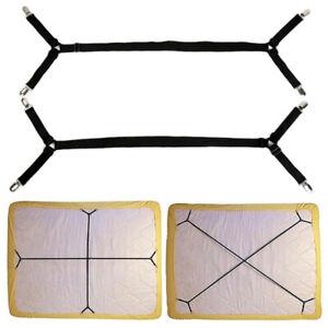 2pcs Bed Suspender Straps Mat Fastener Holder Adjustable Gripper Sheet Clip