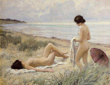 Wonderful Oil painting nude young girls after bathing by the river in summer