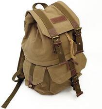 Vintage Canvas Pocket Leather Camera Backpack Bag F2002