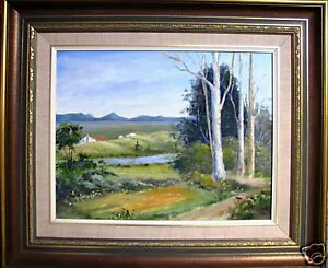 P M McNamee framed oil painting titled 'Valley Peace' Australian Country Rural