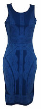 Ex Jane Norman Blue Baroque Printed Bodycon Party Dress Size 8 10 12 14 16