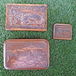 Collection 3 Carved Boxes Taormina Sicily 1944 - Sicilian Carts - WWII Interest