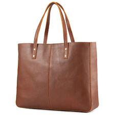 Kattee Vintage Fashion Women Cowhide Leather Tote Bag Large Handbag Brown
