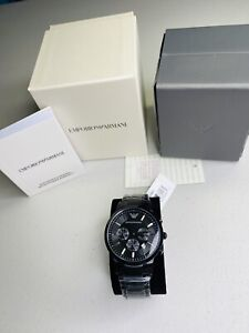 New Emporio Armani AR2453 Classic Chronograph Black Stainless Steel Mens Watch
