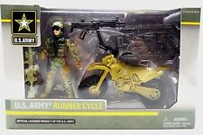 U.S. Army Runner Cycle Soldier 3.75in Action Figure Gear Playset Official New 4+