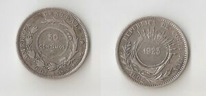Costa Rica 50 centimos 1923 Counterstamped on 25 cents 1892 HEATON High grade!!!