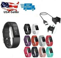 10Pcs Replacement Wristband & Charger For Fitbit Charge 2 Band Silicone Fitness