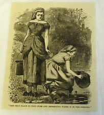 1886 magazine engraving ~ TWO GIRLS FIND PURE & REFRESHING WATER IN COUNTRY
