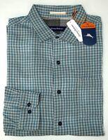 NWT $150 Tommy Bahama LS Green Gray Plaid Shirt Mens XLT 2XB 2XT 3XT Cotton NEW