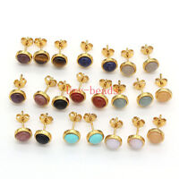 Yellow Gold Plated Natural Amethyst Quartz Gemstone Round Stud Earrings Jewelry