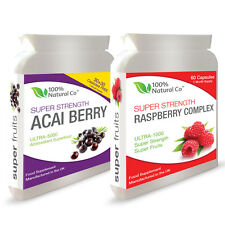 DOUBLE VALUE PACK - Raspberry Ketones and Acai Berry Weight Loss Diet Pills