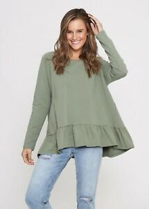Leoni Australia Women's Terry Ruffle Hem Sweater Top - Khaki Basics Comfortable