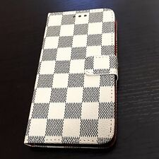 For iPhone 7+ PLUS - Beige Black Checkered ID Card Wallet Diary Pouch Case Cover
