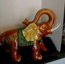 """Large Vintage Porcelain Elephant, Trunk up, H.13"""" L. 18"""""""