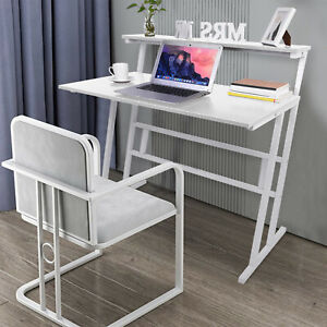 White Computer Desk Writing Corner PC Table Laptop Home Office Workstation
