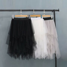 Women Fashion Elastic High Waist Mesh Tutu Skirt White Black Gray Long Skirts