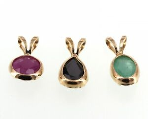 3 14K Gold Solitaire Pendants Bezel-Set Oval Emerald, Round Ruby & Pear Sapphire