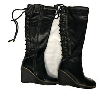 Monroe & Main Black Knee High Boots Back Lace Up Wedge Tall Shoes Size 6 Wide