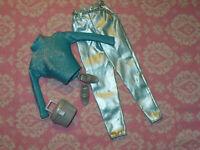Mattel Barbie Doll Clothing Lot Vintage FASHION AVENUE PEARL BLUE PANT & TOP Set