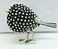 Robin bird brooch Vintage style silver plate green dainty pin gift