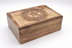 Wooden Box Handcarved Pentagram Wiccan Pagan Gift Jewellery Crystals Trinket UK