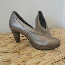 Ziera Heels Size 37.5 Metallic Bronze Strip Heel Women's Shoes
