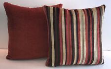 """Harlequin Napa designer velvet striped 17"""" cushion covers."""
