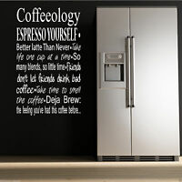 COFFEE COFFEEOLOGY KITCHEN Wall Art Sticker Quote Decal Mural Stencil Transfer