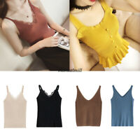 Summer Women Solid Slim Stretch Knit Casual Vest Tank Top Blouse Basic Shirt Tee