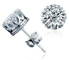 Elegant Girl Chic Retro Classical Silver Crystal Crown Ear Stud Earrings Jewelry