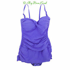 PROFILE GOTTEX SHIRRED ONE PIECE SWIM DRESS SWIMSUIT LIGHT PURPLE 10 B52
