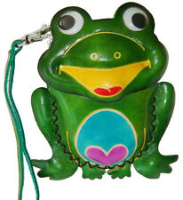 Leather Change/coin Purse,Jewelry Holder.Green Sitting & Happy Frog Shape,Zipper
