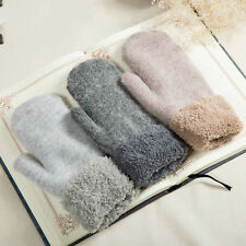 Winter Women Thick Warm Faux Rabbit Fur Wool Knitted Gloves Mittens Double-sided
