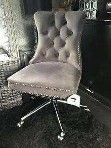 Princess Velvet Handleback Office Chair - Grey - COLLECTION ONLY