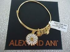 Alex and Ani Charity By Design DAISY Shiny Gold Bangle New W/ Tag Card & Box