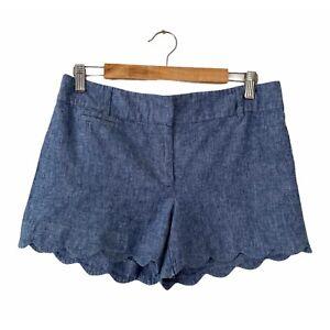 "Ann Taylor Loft Chambray Scalloped Hem 4"" Linen Blend Shorts Womens Size 8"