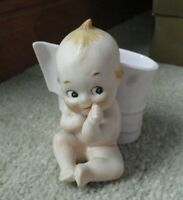 "Vintage Porcelain Bisque Kewpie Baby Girl Figurine Planter 3 1/2"" Tall #2"