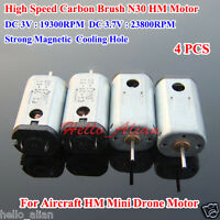 4PCS 12mm DC3V 3.7V 23800RPM High Speed Strong Magnet Mini DC Motor Cooling Hole